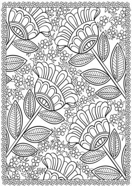 Flower Pattern Coloring Pages for Grown Ups okn2