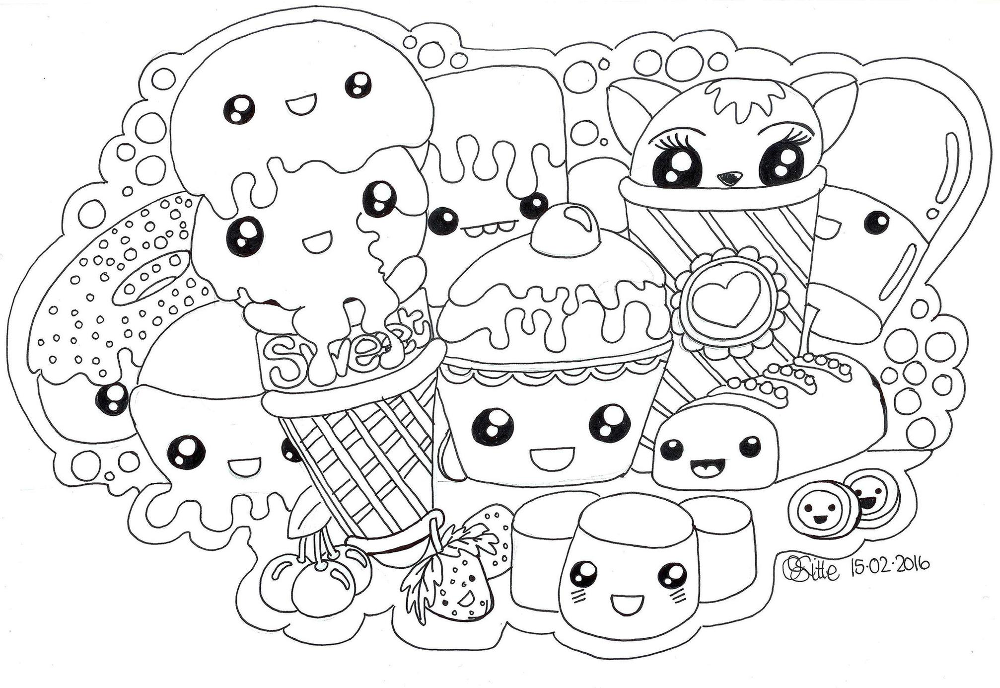 Food Kawaii Coloring Pages Free to Print