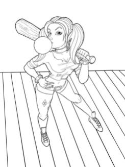 Harley Quinn Coloring Pages 3zar