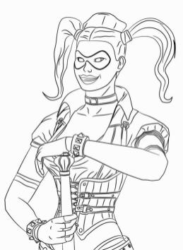 Harley Quinn Coloring Pages Free 6pka