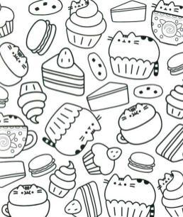 Kawaii Coloring Pages Cupcake and Pusheen Cat