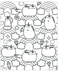 Kawaii Coloring Pages Cute Pusheen Cat and Rainbow