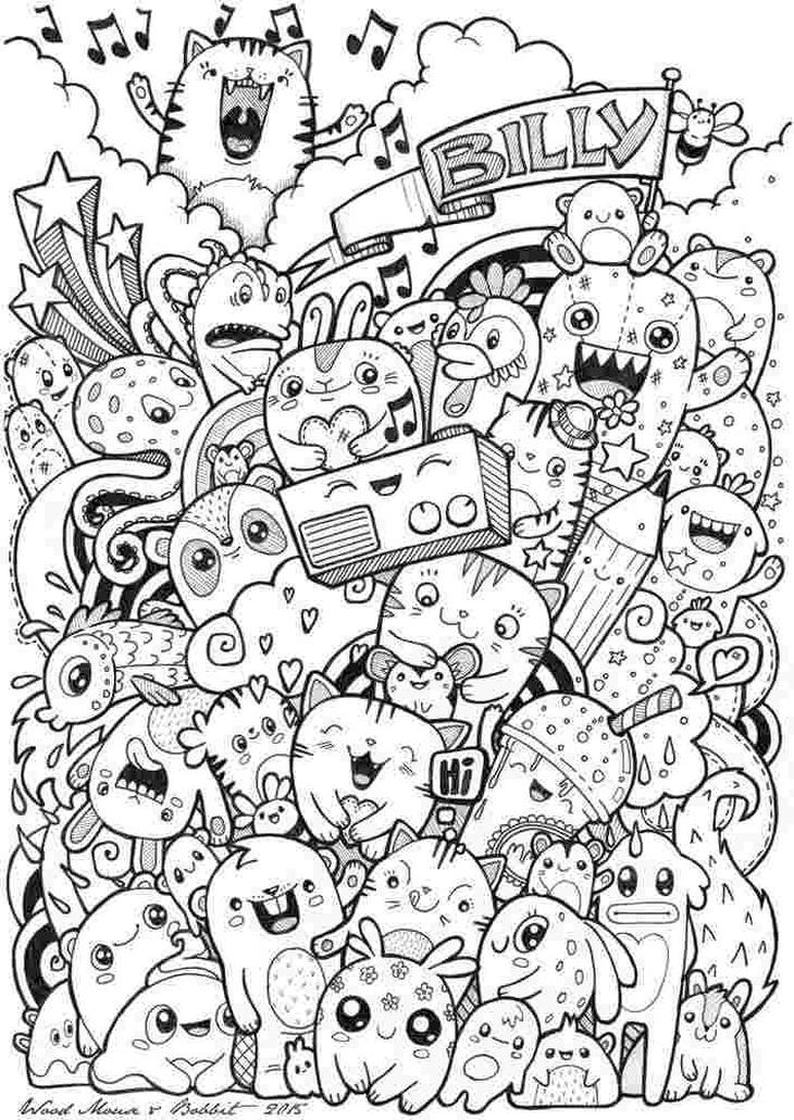 Kawaii Coloring Pages Free Printable Doodle Art