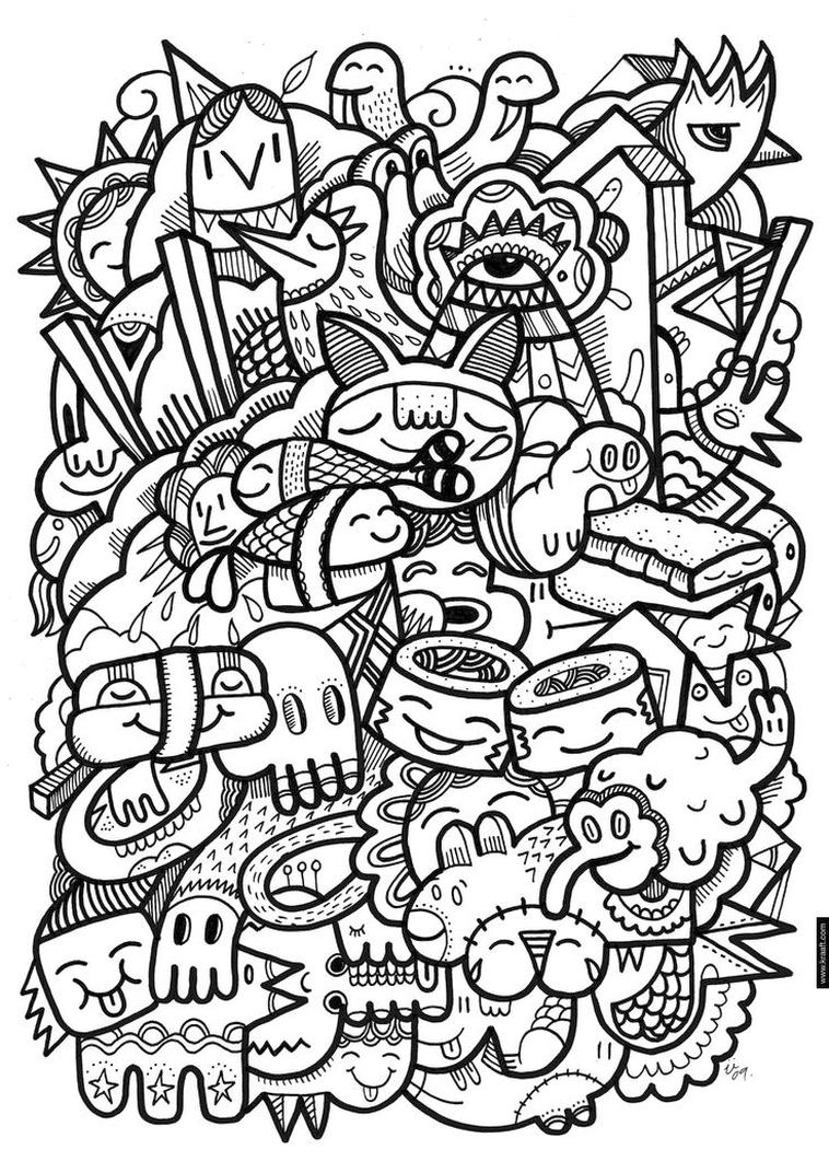 Get This Kawaii Doodle Coloring Pages for Adults !