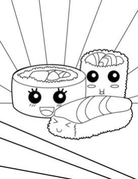 Kawaii Food Coloring Pages Online