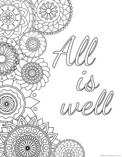 Printable Adult Coloring Pages Quotes All Is Well