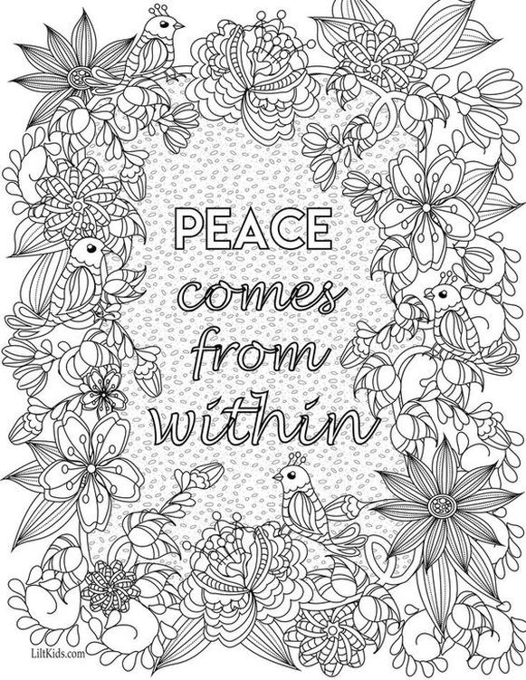 Printable Adult Coloring Pages Quotes Peace