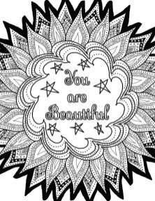 Printable Adult Coloring Pages Quotes You Are Beautiful