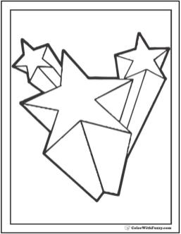 Star Coloring Pages 3D Shooting Stars