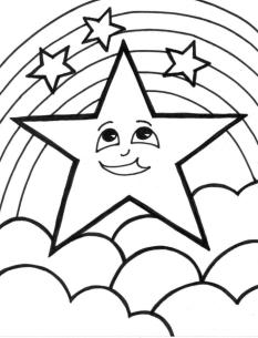 Star Coloring Pages A Happy Star with Rainbow Background