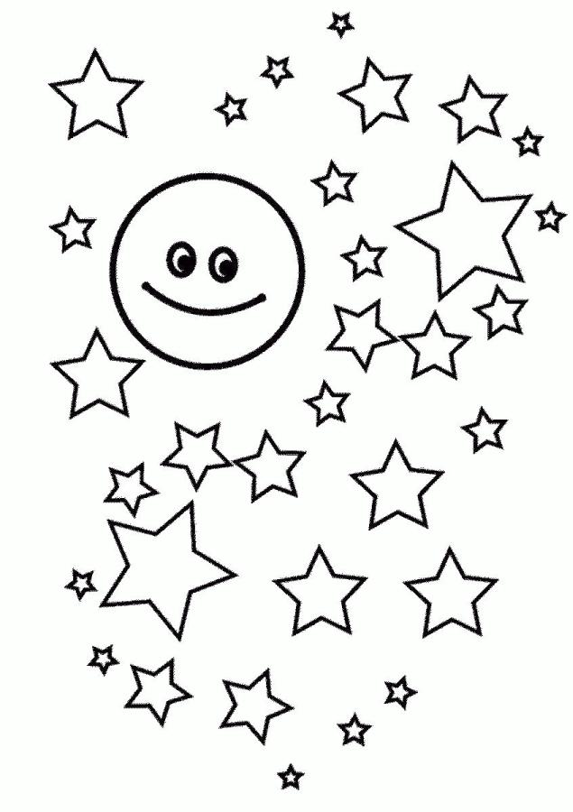 Star Coloring Pages The Moon Accompanied by Many Stars