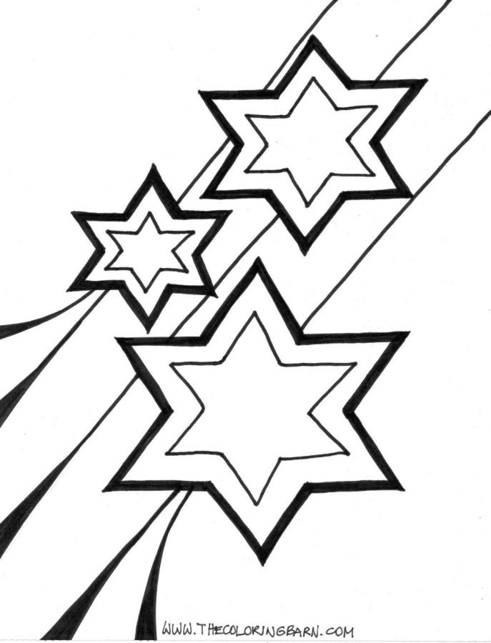 Star Coloring Pages Three Shooting Stars Shine Bright