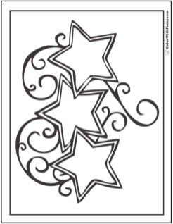 Star Coloring Pages Three Twirly Little Stars