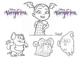 Vampirina Coloring Pages Vampirina Gregoria Wolfie and Demi