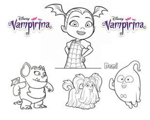 Vampirina Coloring Pages Vampirina Gregoria Wolfie and Demi