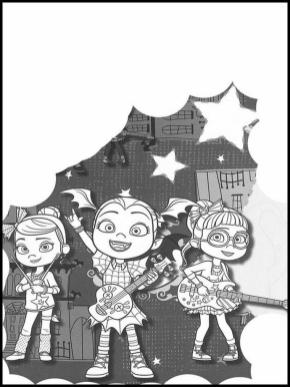 Vampirina Coloring Pages Vampirina Playing in a Band with Friends