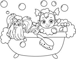Vampirina Coloring Pages Vampirina Taking a Bath with Wolfie