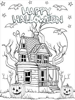 Adult Halloween Coloring Pages Haunted House 3hhs