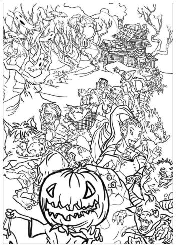 Adult Halloween Coloring Pages Monsters from the Dark 1mtd
