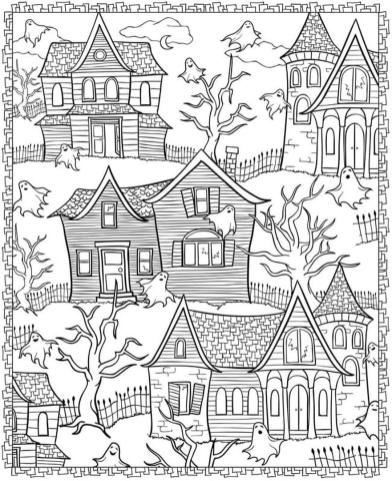 Adult Halloween Coloring Pages More Haunted House and Ghosts 3hhg