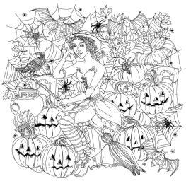 Adult Halloween Coloring Pages Witch and Her Broom 2whb