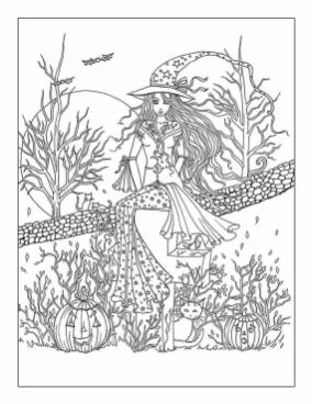 Halloween Coloring Page For Adults Witch and Her Cat 5wtc