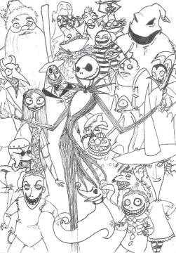 Nightmare Before Christmas Coloring Pages Halloween okn7