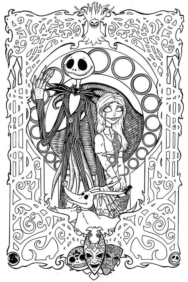 20+ Free Printable Nightmare Before Christmas Coloring ...