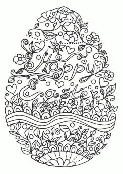 Adult Easter Coloring Pages Happy Easter Egg