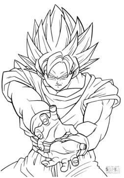 Anime Coloring Pages Goku Super Saiyan