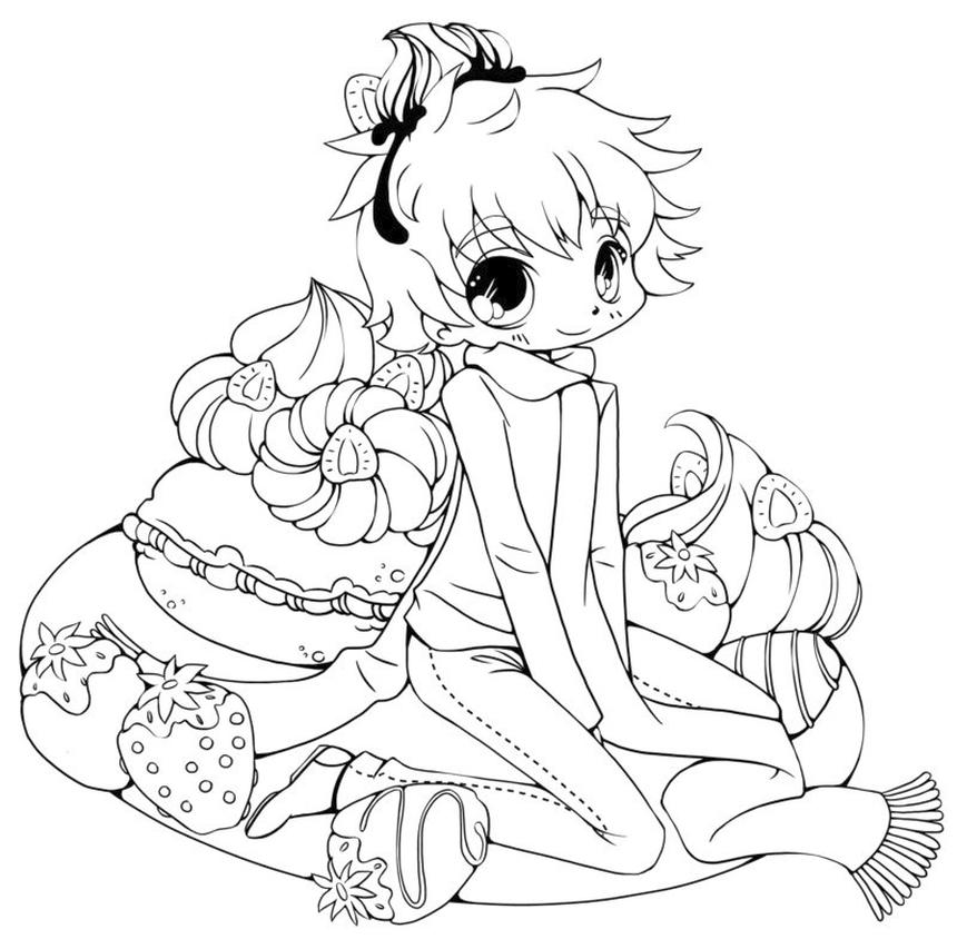 Anime Coloring Pages Little Strawberry Girl