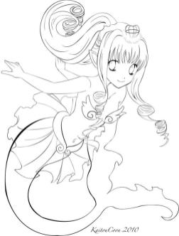 Anime Coloring Pages for Girls Mermaid Princess