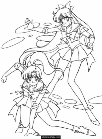 Anime Coloring Pages for Girls Sailor Moon in Action