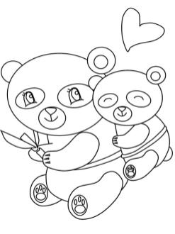 Baby Panda Hugging Mama Panda Coloring Pages