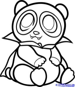 Baby Panda in Halloween Costume Coloring Page