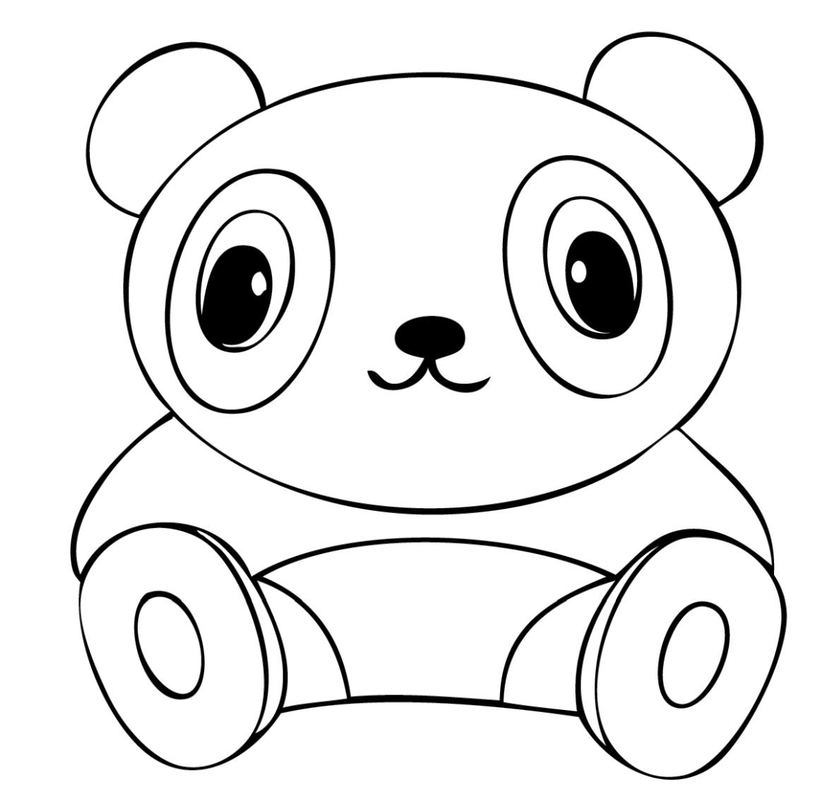 Cute Panda Stuffed Toy Coloring Pages