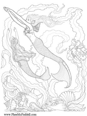 Fantasy Adult Coloring Pages Detailed Mermaid
