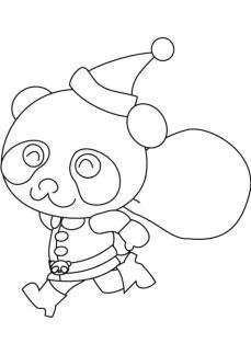 Funny Panda Coloring Page for Christmas