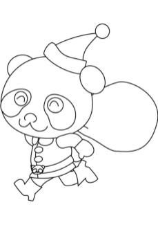 Funny Panda Coloring Page for Christmas