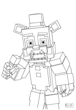 Minecraft Freddy from FNAF Coloring Pages frd3