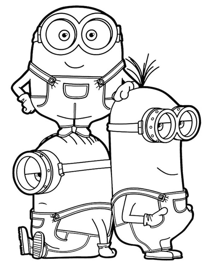 Minion Coloring Pages Bob Stuart and Kevin