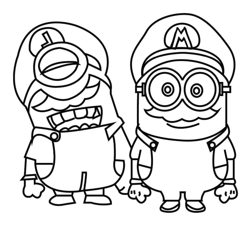 Minion Dressed as Mario and Luigi Coloring Pages