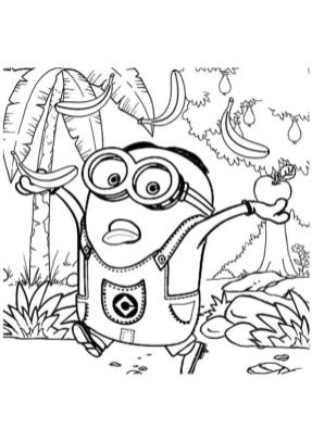 Minion in a Jungle Coloring Pages