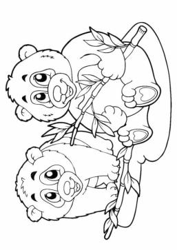 Two Panda Friends Coloring Pages