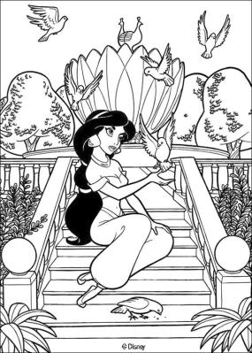 Adult Coloring Pages Disney Princess Jasmine from Aladin