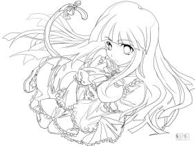 Anime Girl Coloring Pages Printable fd27