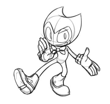 Bendy and the Ink Machine Coloring Pages Free Bendy with Oversized Gloves