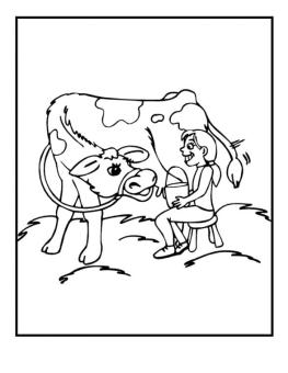 Cow Coloring Pages Free Printable Little Girl Getting Milk from Her Cow
