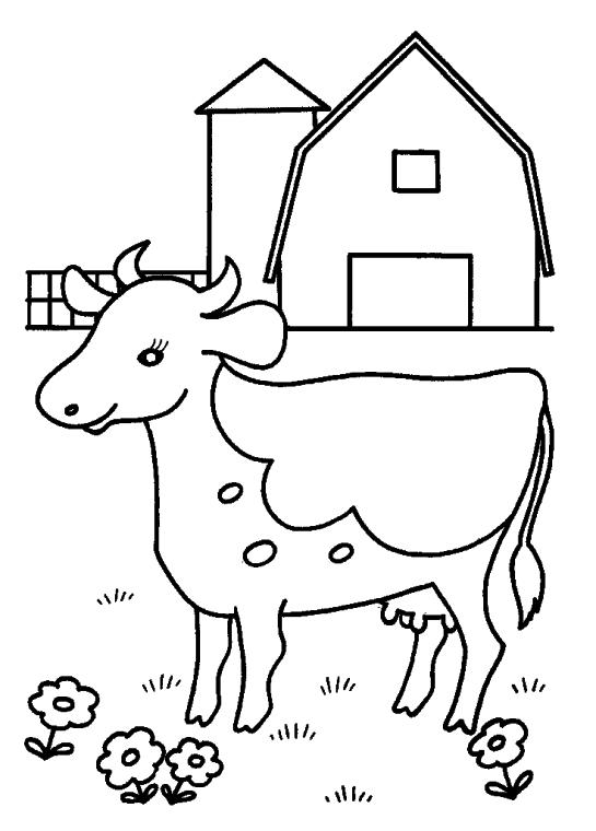 Cow Coloring Pages Free Printable Simple Cow Image for Preschoolers