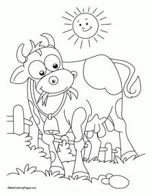 Cow Coloring Pages Printable Cartoon Cow Sunbathing